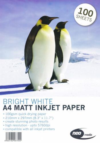 neo 100 gsm matt a4 inkjet paper