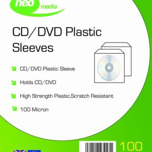 NEO MEDIA 100 MICRON CD DVD SLEEVES PLASTIC PP MATRIX MEDIA