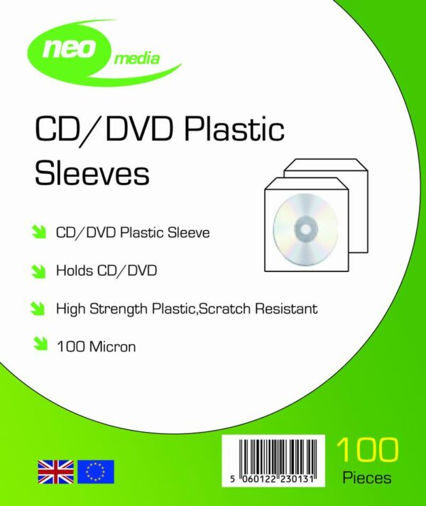 NEO MEDIA 100 MICRON CD DVD SLEEVES PLASTIC PP MATRIX MEDIA