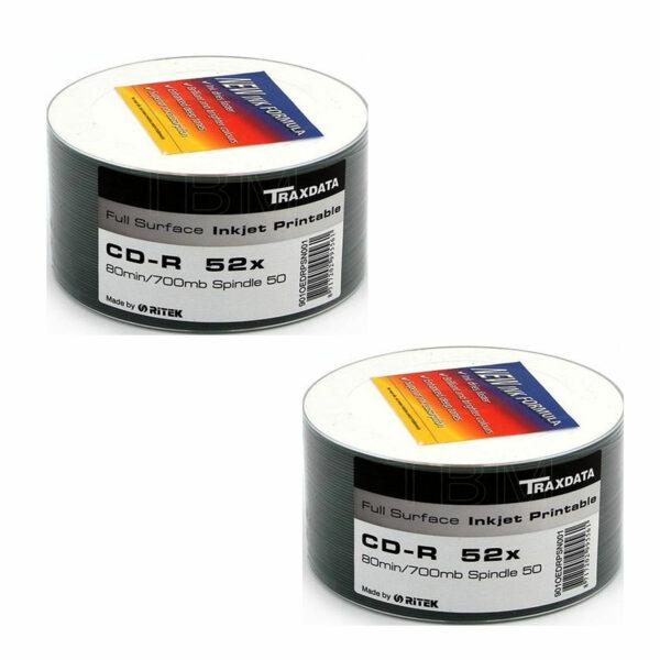 MATRIX RITEK TRAXDATA PRINTABLE CD-R FULL FACE WHITE