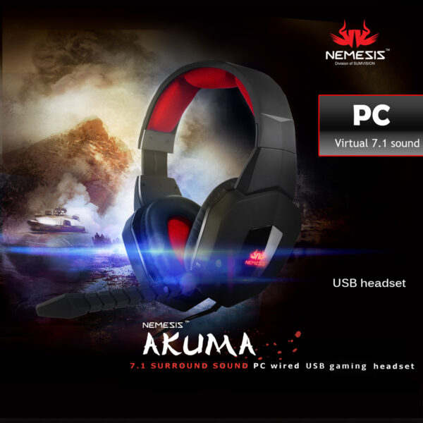 akuma gaming pc headset wired