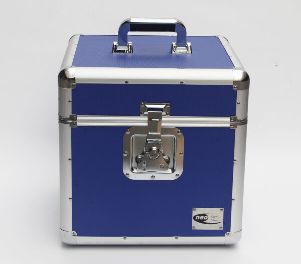 "Neo 100 LP VINYL 12"" Record DJ blue Storage Aluminium DJ Flight Carry Case Box"