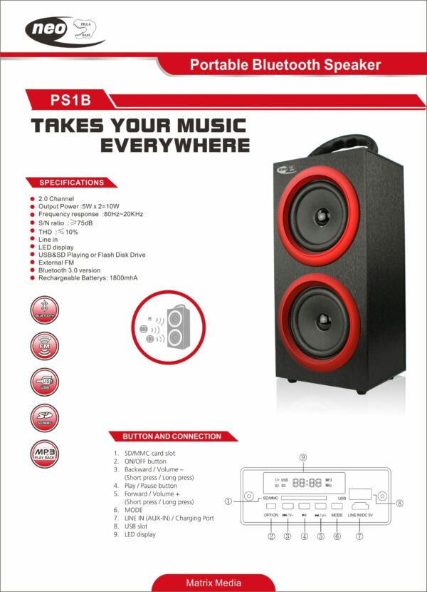 SPEAKER NEO PORTABLE RED