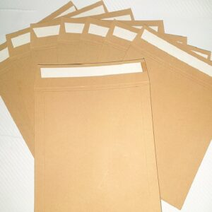 brown card mailer with peel and seal